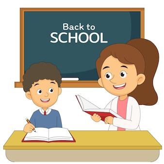 Powrót do szkoły ilustracja z nauczycielem i chłopcem