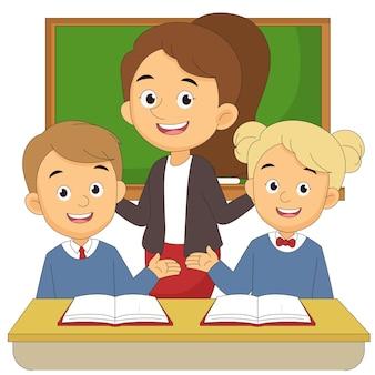Powrót do szkoły ilustracja z nauczycielem i dziećmi