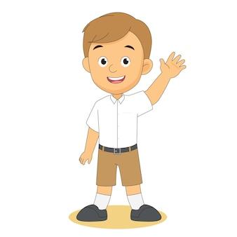 Powrót do szkoły ilustracja z powitaniem chłopca