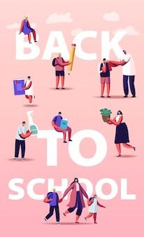 Powrót do szkoły ilustracji. rodzice z dziećmi uczniów i postaciami nauczycieli w maskach medycznych
