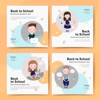 Powrót do szkoły ilustracji wektorowych szablon pakietu post instagram
