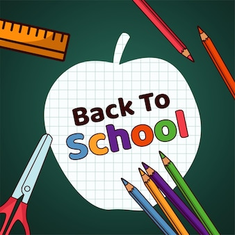 Powrót do szkoły jabłko papierowy napis z zapasami