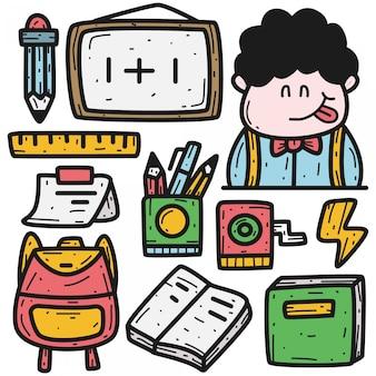 Powrót Do Szkoły Kawaii Doodle Ilustracja Kreskówka Premium Wektorów