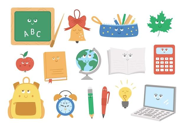 Powrót do szkoły kawaii wektor zestaw elementów. edukacyjna kolekcja clipartów z uroczymi, płaskimi obiektami uśmiechniętymi. zabawny tornister, ołówek, alarm, dzwonek, ilustracja jabłko dla dzieci.