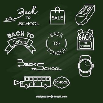 Powrót do szkoły kolekcja odznak w stylu tablica