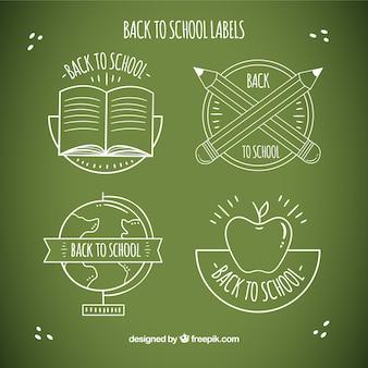 Powrót do szkoły kolekcji etykiet w stylu kredy