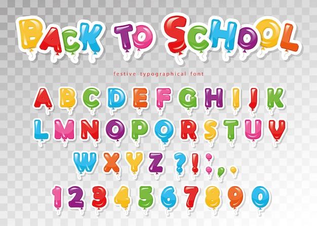 Powrót do szkoły. kolorowa czcionka balonowa dla dzieci.