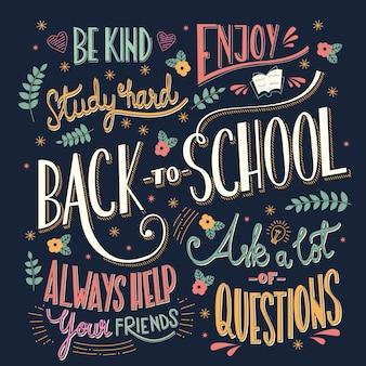 Powrót do szkoły kolorowy typografia rysunek na tablicy