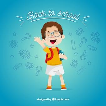 Powrót do szkoły kompozycja z płaskim chłopcem