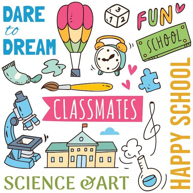 Powrót do szkoły koncepcja doodle tło