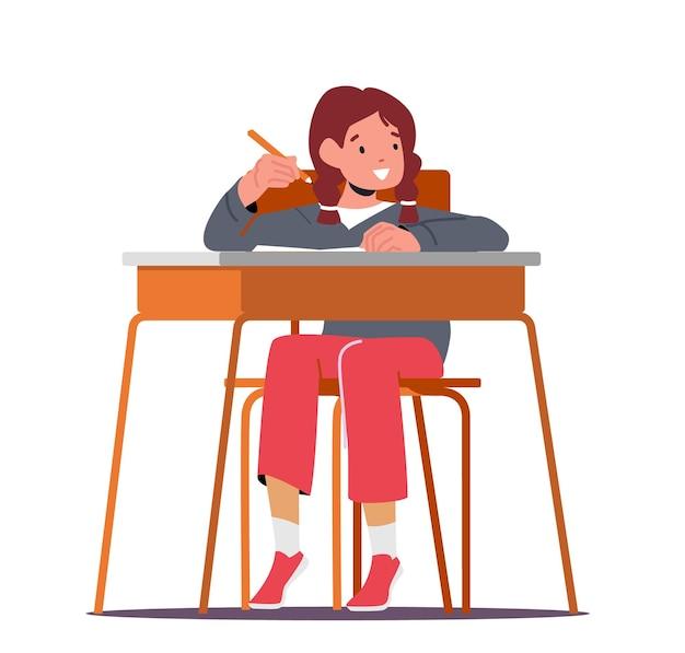 Powrót do szkoły, koncepcja edukacji podstawowej. mały uczeń dziecko w szkolnej klasie, charakter uczennica siedzi przy biurku, pisząc w notesie podczas lekcji. ilustracja kreskówka wektor