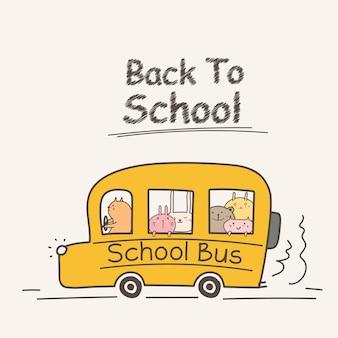 Powrót do szkoły koncepcja z autobusu szkolnego.