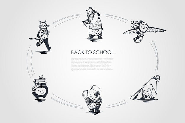 Powrót do szkoły koncepcja zestaw ilustracji