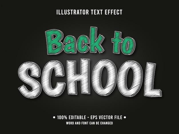 Powrót do szkoły kredy edytowalny efekt tekstowy