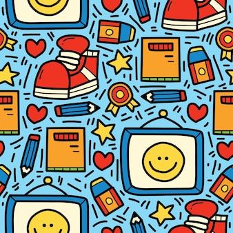 Powrót do szkoły kreskówka doodle wyciągnąć rękę projekt