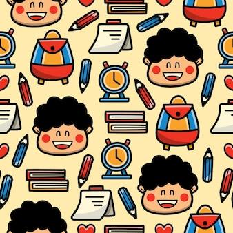Powrót do szkoły kreskówka doodle wzór bez szwu