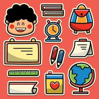 Powrót do szkoły kreskówki doodle projekt naklejki