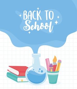 Powrót do szkoły, książki na probówki z chemii i ołówki w filiżance, kreskówka edukacji podstawowej