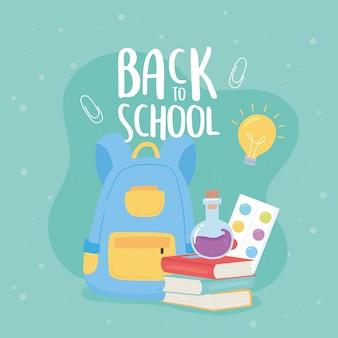 Powrót do szkoły, książki plecak probówki paleta kolor edukacji kreskówka