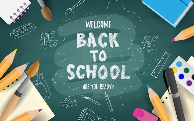 Powrót do szkoły ładny zabawny tekst z przyborów szkolnych i elementów edukacyjnych. koncepcja, baner, karta, pozdrowienia.
