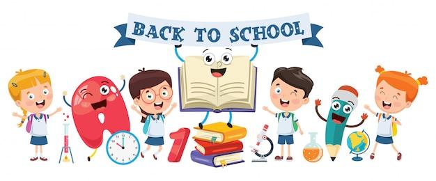 Powrót do szkoły. mali studenci studiujący i czytający