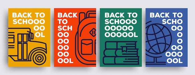 Powrót do szkoły minimalistyczny zestaw plakatów lub ulotek