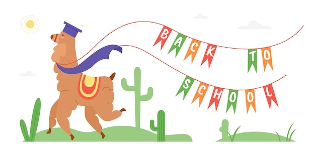 Powrót do szkoły motywacja tekstowa ilustracja. kreskówka dziki szczęśliwy lamy lub alpaki postać zwierzęcia w kapeluszu absolwenta szkoły z flagami, koncepcja kreatywnej edukacji na białym tle