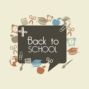 Powrót do szkoły na brązowym tle ilustracji wektorowych