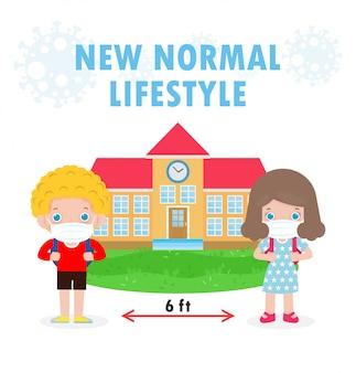 Powrót do szkoły na nową koncepcję normalnego stylu życia, dystans społeczny, europejskie dzieci noszące chirurgiczną ochronną maskę medyczną zapobiegającą koronawirusowi lub covidowi 19 na białym tle na białym tle wektor