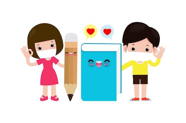 Powrót do szkoły na nową koncepcję normalnego stylu życia. maskotka książkowa i ołówkowa oraz szczęśliwe słodkie dzieci noszące maskę ochronną chronią koronawirusa 2019-ncov lub covid-19, grupa dzieci i przyjaciół idzie do szkoły