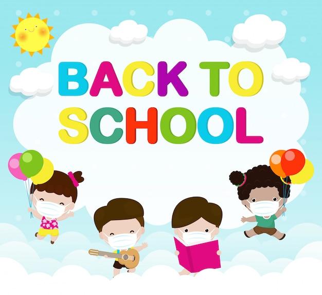 Powrót do szkoły na nową koncepcję normalnego stylu życia. szczęśliwa grupa dzieci skacze nosząc maskę i dystans społeczny chroń koronawirusa covid 19, dzieci i przyjaciele chodzą do szkoły na białym tle