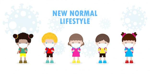 Powrót do szkoły na nową koncepcję normalnego stylu życia. szczęśliwa grupa różnorodna dzieci i różne narodowości noszące maskę chronią przed wirusem koronowym lub covid 19, dzieci i przyjaciele w szkole na białym tle