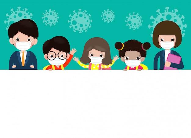 Powrót do szkoły na nową koncepcję normalnego stylu życia szczęśliwe słodkie dzieci i nauczyciele noszący maskę chronią koronawirusa lub covida 19 z dużym szyldem na białym tle ilustracja