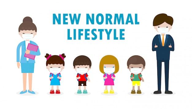 Powrót do szkoły na nową koncepcję normalnego stylu życia. szczęśliwi uczniowie dzieci i nauczyciele noszący maskę chronią wirusa koronowego lub covid 19 w szkole na białym tle na ilustracji
