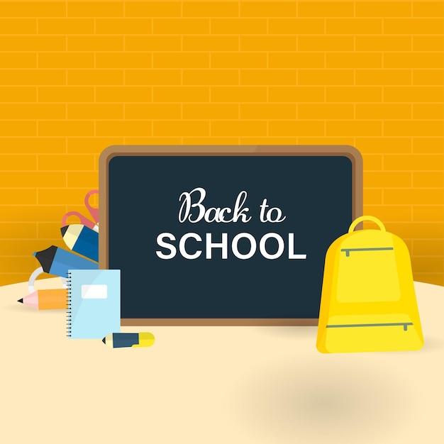 Powrót do szkoły na tablicy z elementami materiałów edukacyjnych na tle ściany z cegły pomarańczowy.