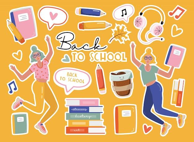 Powrót do szkoły naklejki.