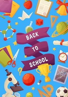 Powrót do szkoły, napis i elementy z kreskówek: notatnik, gwiazdy, planeta, gwiazdy, dzwonek, mikroskop, tablet, cząsteczka, kulki.