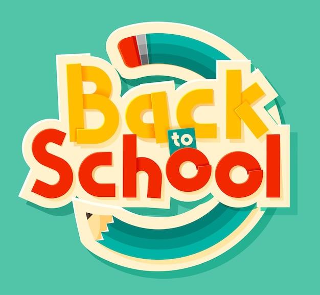 Powrót do szkoły napis ilustracja