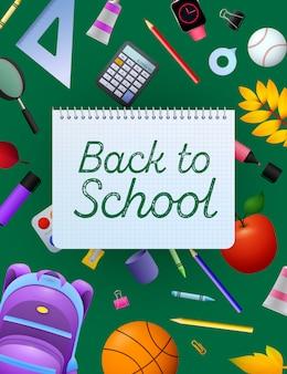Powrót do szkoły napis na kartce zeszytu