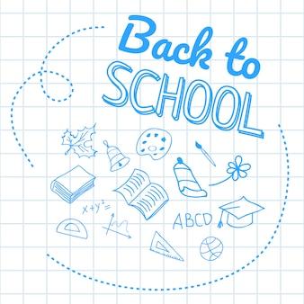 Powrót do szkoły napis na papierze w kratkę z rysunkami strony