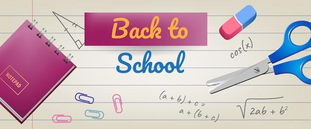 Powrót do szkoły napis na podszyciem papieru z gumką i nożyczkami