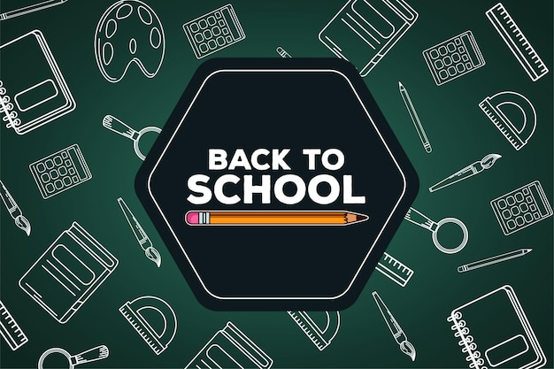 Powrót do szkoły napis ołówkiem w tablicy