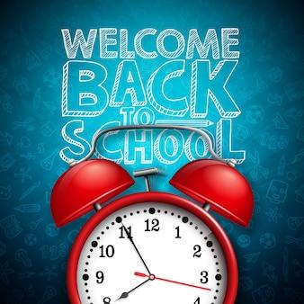 Powrót do szkoły napis z czerwonym budzikiem i typografii na ciemnej tablicy