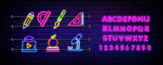 Powrót do szkoły neon znak i alfabet.