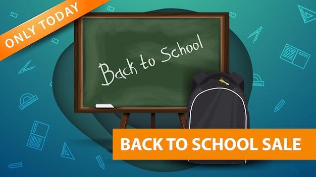 Powrót do szkoły, nowoczesny zielony sztandar rabatowy w kształcie papieru