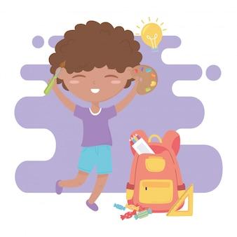 Powrót do szkoły, ołówki linijki chłopiec uczeń i paleta kolorów edukacja kreskówka