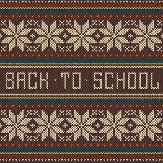 Powrót do szkoły ornament wzór na wełnianej dzianinie tekstury