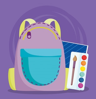 Powrót do szkoły, paleta kolorów plecaka i ilustracja kreskówka podstawowa edukacja notebooka