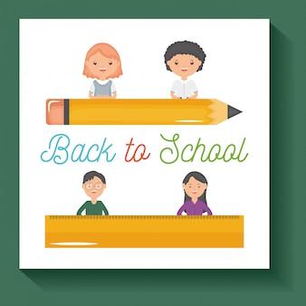 Powrót do szkoły. para młodych nauczycieli i uczniowie z dostawami