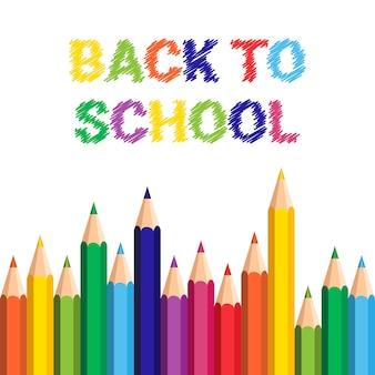 Powrót do szkoły plakat kolorowe kredki ołówki pociągnięcia pędzlem